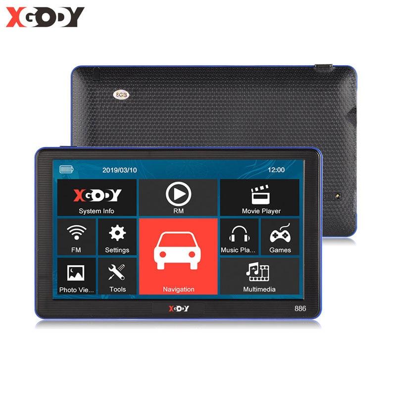 XGODY 886 7'' Lkw Auto GPS Navigation 256M + 8GB Kapazitiven Bildschirm Navigator Bluetooth Hände Geben Anruf Optional frankreich 2019 Karte