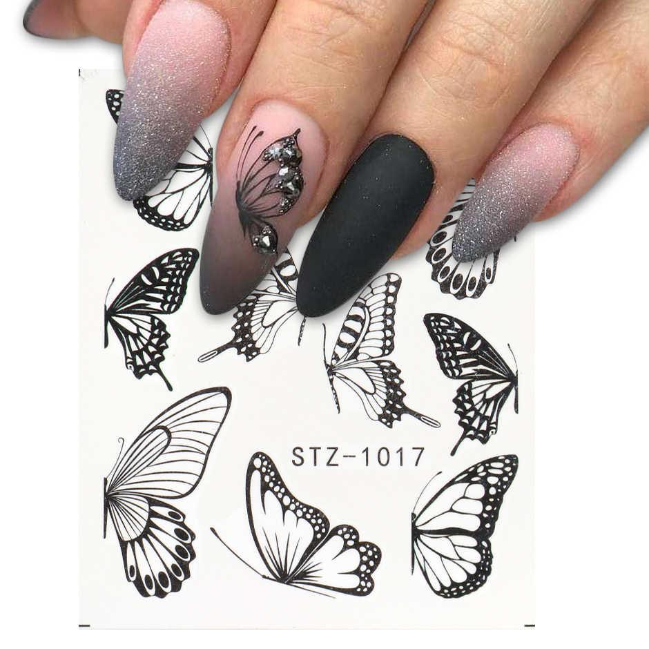 1Pc Zwarte Vlinder Nail Stickers En Stickers Bloem Blauw Kleurrijke Water Tattoo Voor Manicure Nail Art Slider Decor CHSTZ982-1017