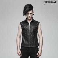 Gothic texture PU Personality Men Sleeveless Waistcoat Punk Fashion Summer Men Stage Cosplay Jacket Vest PUNK RAVE WY 990MJM