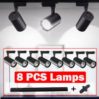 COB Led Track Light Spots Led Track Lamp Rail Lighting Fixture 12/20/30/40W Modern Wall Lamp Spotlight Home Clothing Shop 220V 1