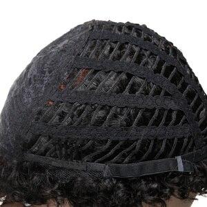 Image 4 - Sleek Perruque de cheveux humains crépue bouclée Perruque brésilienne de cheveux humains Perruque pour les femmes noires Perruque de bouclée courte Bob Pixie wig humain hair livraison gratuite