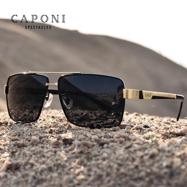 CAPONI מותג מקוטב גברים יום נהיגה כיכר משקפי שמש קלאסי מתכת אנטי השתקפות גוונים עבור זכר UV400 CP031