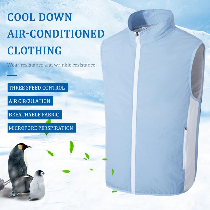 Летняя охлаждающая одежда для кондиционирования воздуха, охлаждающий жилет для зарядки, вентилятор, кондиционер, рабочий охлаждающий похо...