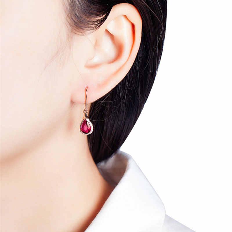 Ataullah Baumeln Hängen Waterdrop Ohrring Red Rubin Ohrringe Überzogen mit 18K Rose Gold Edelstein Schmuck für Frauen EW044
