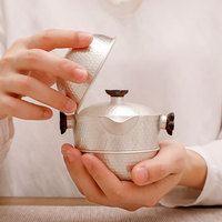 Sterling Silver 999 Quick Cup Convenient Car Travel Tea Artifact One Pot Two Cups Sterling Silver Kung Fu Tea Set