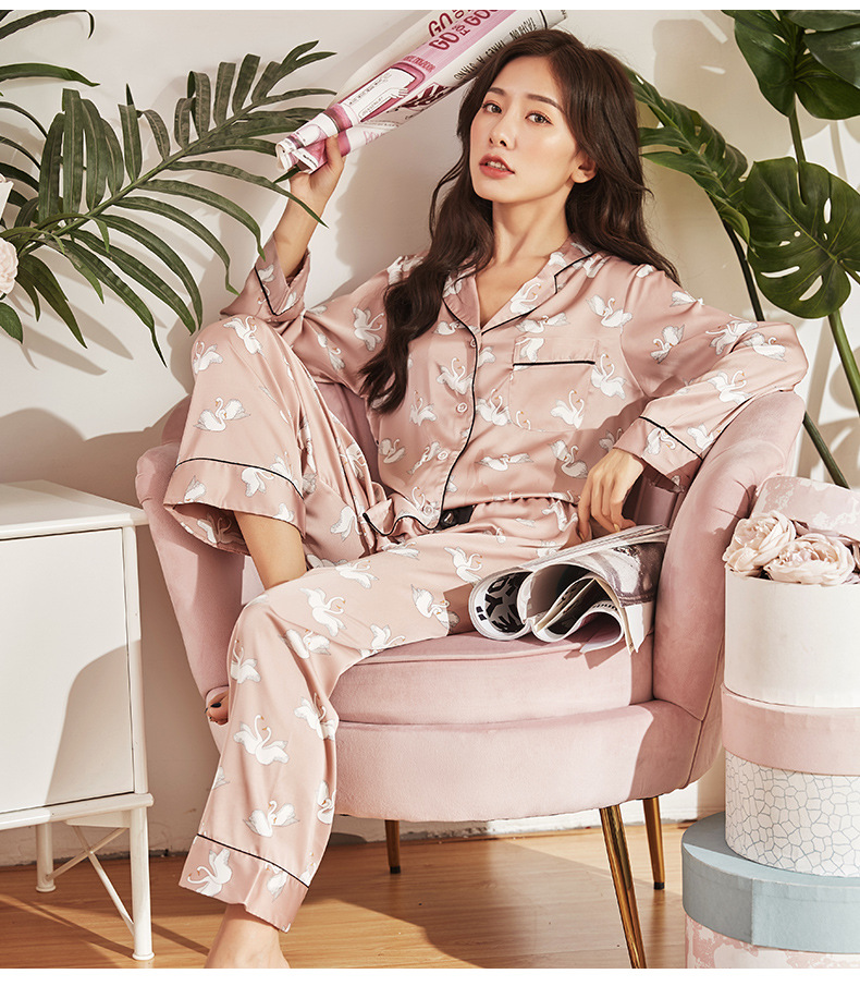 Youhottest 2020 Long Sleeves Printed Women Nature Silk Pajamas