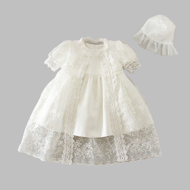 HAPPYPLUS Snow White/Ivory Baby Girl Christening Dress Gown Set Embroidery Baptismal Outfits Formal Baby Dresses Birthday 1 Year