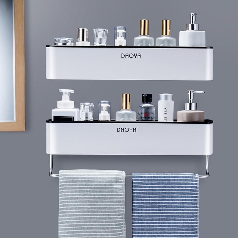 Bathroom Shelf Shower Caddy Organizer Wall Mount Shampoo Rack With Towel Bar No Drilling Kitchen Storage Bathroom Accessories 1