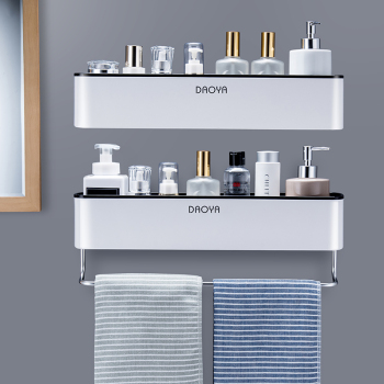 Bathroom Shelf Shower Caddy Organizer Wall Mount Shampoo Rack With Towel Bar No Drilling Kitchen Storage Bathroom Accessories 1