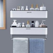 Badezimmer Regal Dusche Caddy Organizer Wand Montieren Shampoo Rack Mit Handtuch Bar Kein Bohren Küche Lagerung Bad Zubehör