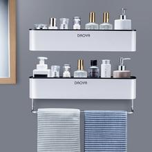 Bathroom Shelf Organizer Shampoo-Rack Towel-Bar Shower Caddy Wall-Mount Kitchen Storage