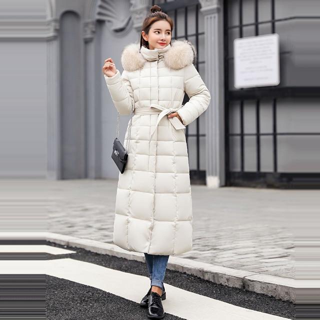 Winter jacket women's warm fashion bow belt fox fur collar coat long dress women's thick coat 42