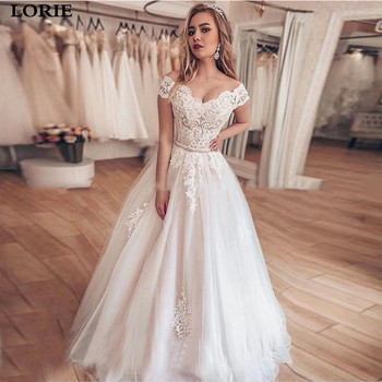 LORIE Lace Wedding Dress A Line Vestidos de novia Off The Shoulder Lace Sexy Bridal Gown Lace Up Back Wedding Gowns lace up stripes a line midi dress