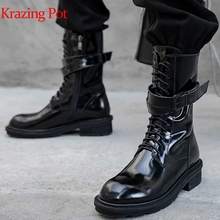 Winter Shoes Krazing-Pot Luxury Boots Heels Motorcycle-Boots Round Toe Natural-Cow-Leather