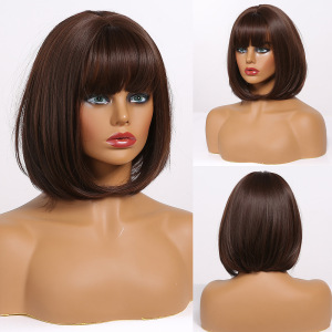 EASIHAIR Dark Brown Bob Wigs Short Synthetic Wigs for Women Heat Resistant High Temperature Fiber Cosplay Wig Natural Hair