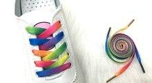 2 Pair Colorful Laces Rainbow Gradient Print Flat Canvas Shoe Lace Shoes Casual Chromatic Colour Shoelaces 80CM/100CM/120CM