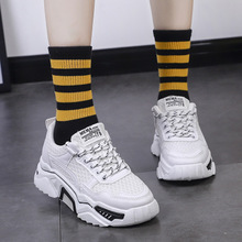 Купить с кэшбэком women casual shoes 2018 new lace-up breathable comfortable flat platform dad sneakers white shoes tenis feminino sapato feminino