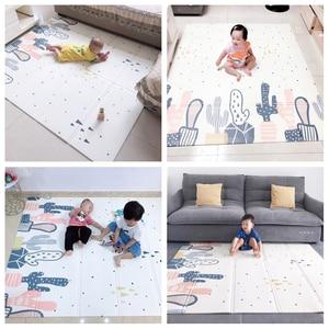 Image 5 - سجادة لعب للأطفال الرضع لامعة XPE سجادة زحف لحماية البيئة سميكة قابلة للطي سجادة أرضية منزلية للأطفال