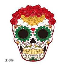 Temporary Tatoo Fake Tattoo Sticker Happy Halloween Tattoos Skull Mask Spider Rose Tatouage Waterproof Tatto For Men Women Kids(China)