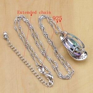Image 5 - Mystic Rainbow Fire Австралийский Кристалл 925 серебряные ювелирные изделия для женщин Свадебные серьги/кулон/ожерелье/кольца/браслет