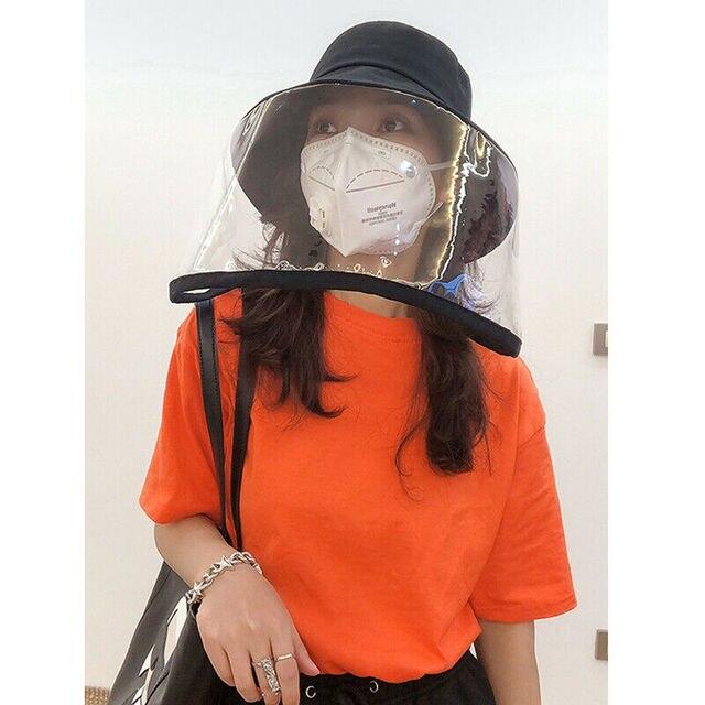 Anti-fog Saliva Face Masks Windproof Fisherman Hat Removable Protection Cap Protective Face Shield Transparent Mask 1