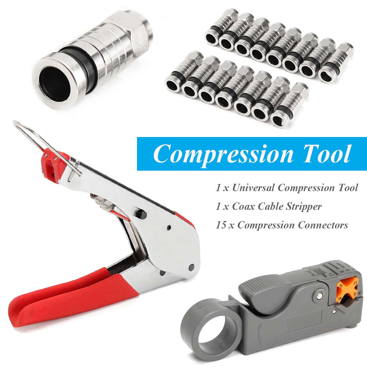 NEW Manual Crimping Tool Set Kit For F-Type Connector RG59 RG6 Coax Cable Crimper With Compression Connectors