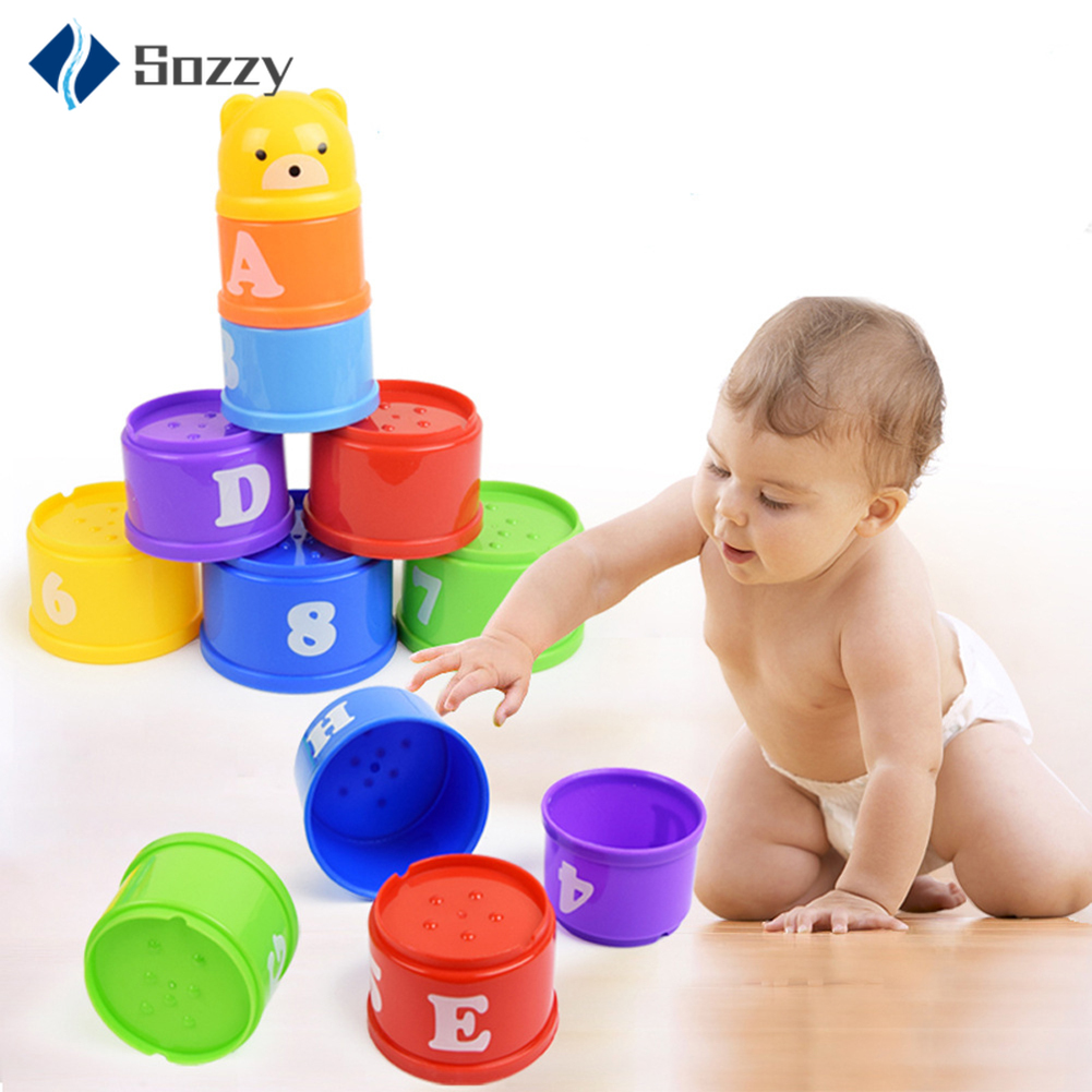 New 9PCS Baby Toys Stacking Cups Towers Sorting Nesting For Children's Pyramid Character And Numbers Educational Stack Cup Toys