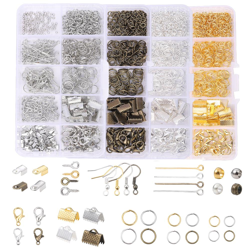 Alloy Accessories Jewelry Findings Set Clip Buckle Open Jump Rings Lobster Clasp Earring Hook DIY Jewelry Making Supplies Kit