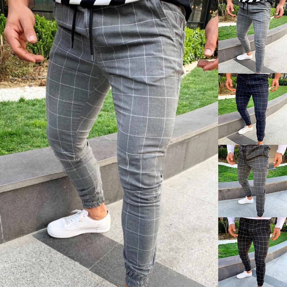Fashion Men Pants Plaid Print Drawstring Elastic Casual Pencil Pants Trousers Jogging Pant Sports Long SlacksFor Men's Clothings