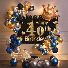 40th Birthday Party Decorations Gold Blue Metallic Balloons Garland Kit With Backdrops Background For Men Women Party Decor