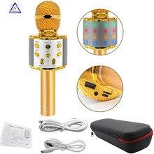 WS858 Professional Wireless karaoke Microphone Speaker Condenser Microfono with Bag Bluetooth Radio Studio Record Mic PK WS 858