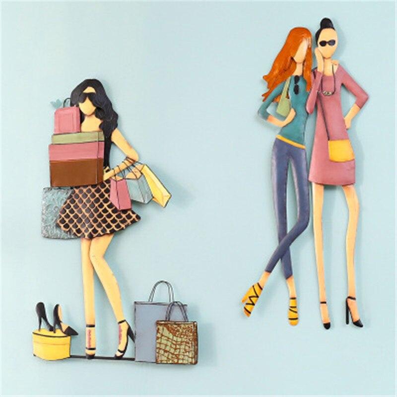Креативная Мода девушка абстракция стереоскопический железный лист кулон магазин одежды фон стены искусства украшения X2679