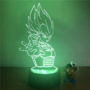 Bola de Dragón Z Vegeta Goku Super Saiyan luz de noche LED 3D 7 colores táctil ilusión óptica figura de acción lámpara de mesa Decoración