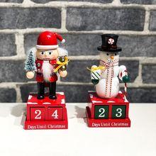 Милый мультфильм украшения обратного отсчета календарь/рождественские деревянные декорации обратного отсчета календарь форма снеговика