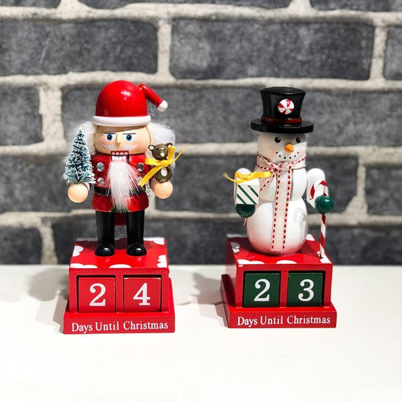 Cute Cartoon Decoration Countdown Calendar/Christmas Decoration Wooden Countdown Calendar Snowman Shape