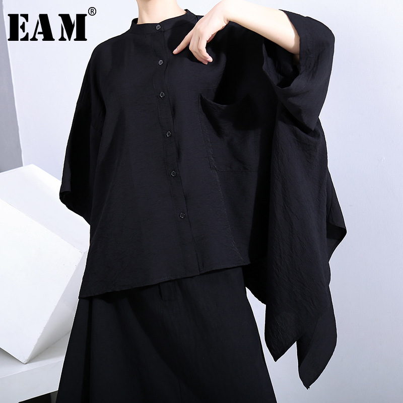[EAM] Women Black Irregular Split Big Size  Blouse New Stand Collar Half Sleeve Loose Fit Shirt Fashion Spring Summer 2020 1U517