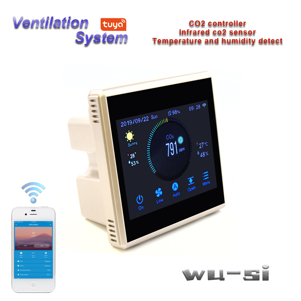 TUYA APP WIFI CO2 analyzer controls air ventilation system,With temperature and humidity, weather display image
