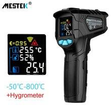 MESTEK цифровой инфракрасный термометр-50~ 800C лазерный температурный пистолет Красочный ЖК-дисплей с сигнализацией температуры окружающей среды измеритель влажности
