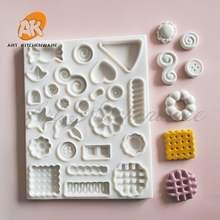 Пуговицы звезда и цветок силиконовая форма украшение для торта
