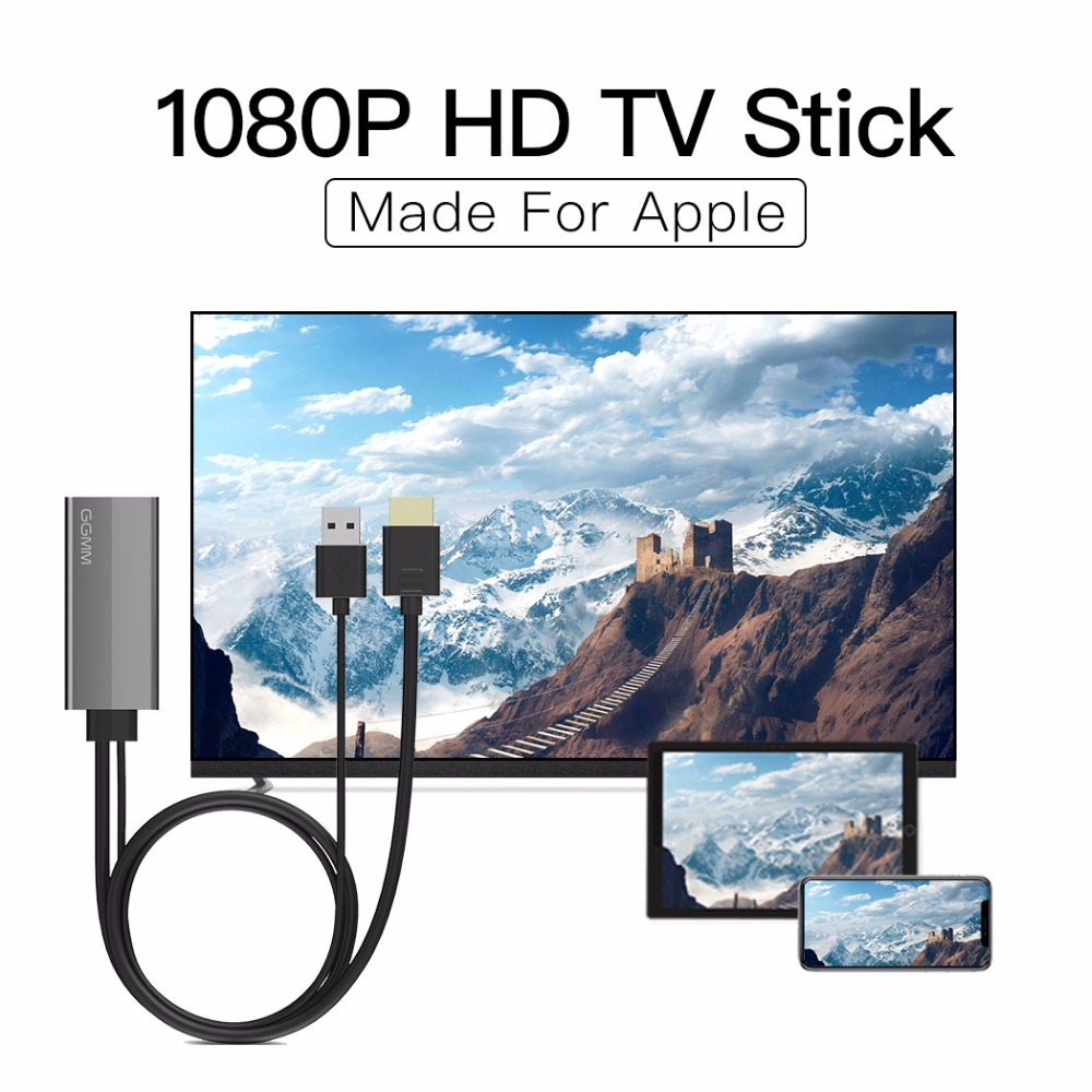 GGMM HDMI Dongle TV Stick 1080P HD Display Adapter TV Cable For Apple USB Screen Mirroring TV Box Dongles Only For IPhone IPad