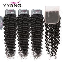 YYong del pelo brasileño de la onda profunda del pelo humano 3 mechones con 4x4 de cierre de encaje medio marrón Remy pelo brasileño mechones con cierre