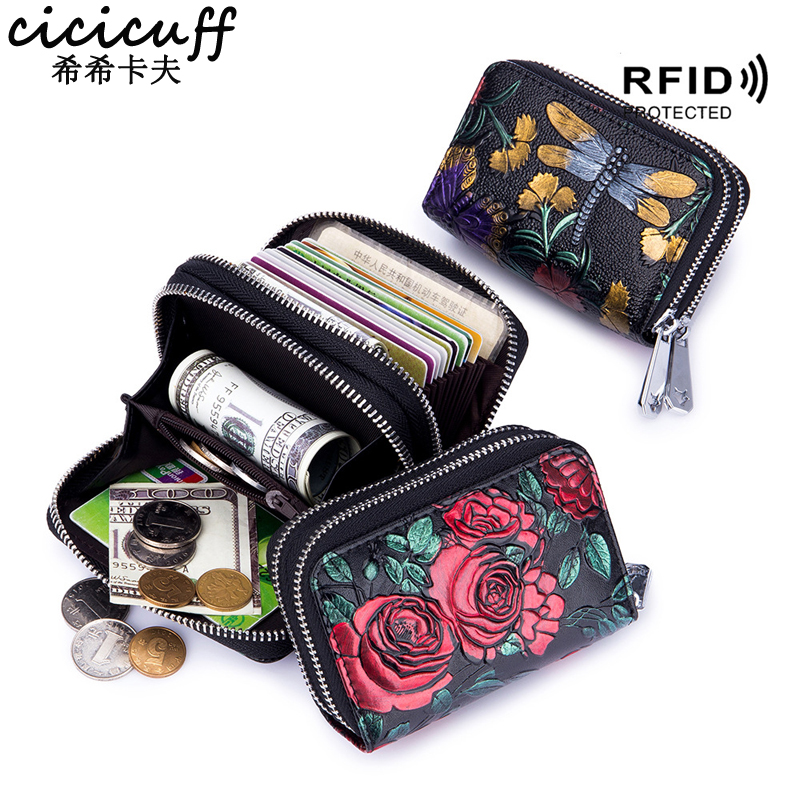 New Double Zipper Short Women's Wallets Accordion Multi Slots Lady Card Holder Fashion Printing Female Coin Purse RFID Blocking|Card & ID Holders| |  - title=