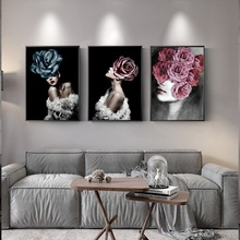 Modern Fashion Art Girl With Flowers Canvas Painting Wall Pictures For Living Room Nordic Sexy Nude Decorative