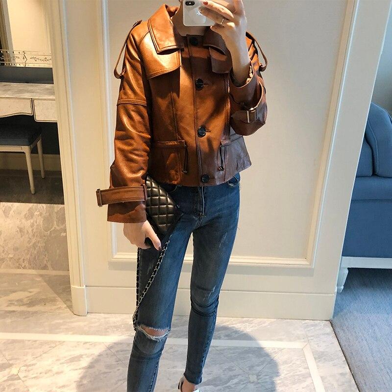 100% Real Sheepskin Coat Female Genuine Leather Jackets Women Short Montone Biker Jacket Female Clothes 2019 Hiver T8801