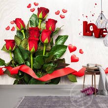 Custom 3D Red Love Heart Rose Flower Photo Mural Waterproof Silk Cloth