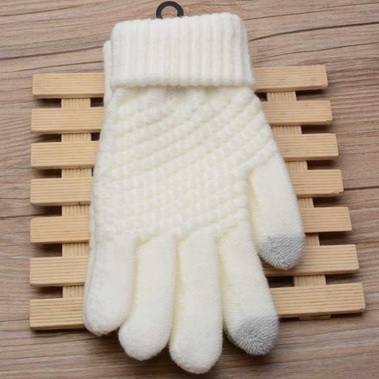 Luva geométrica do inverno dos homens das mulheres rekawiczki luvas de lã quentes da tela dos dedos da tela do clique da malha das luvas pretas de malha