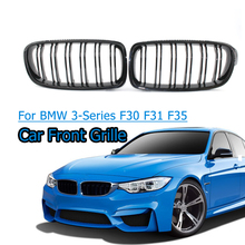 1 Pair  Car Front Grille Gloss Black Front Grille For BMW 3-Series F30 F31 F35 2012-2016 Racing Grills 1 pair f30 car styling front grill style f31 kidney black replacement grille hood for bmw 3 series f30 f31 2012 2016 gloss black