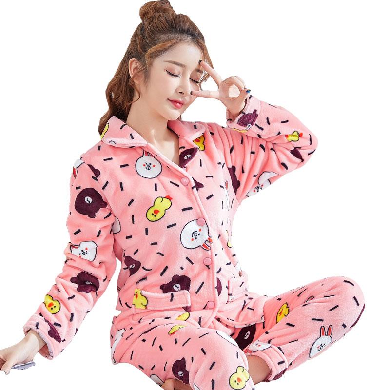 82 Autumn and winter plus size Pregnant Flannel cartoon thickening coral fleece sleepwear women Pajama Sets 3xl-6xl