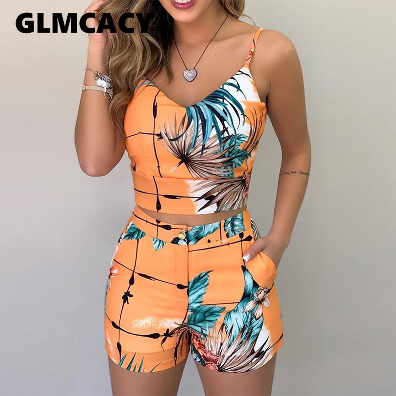 Women Sexy Ladies Spaghetti Strap Print Tops & Shorts Sets Summer Sleeveless 2 Piece Sets Outfits