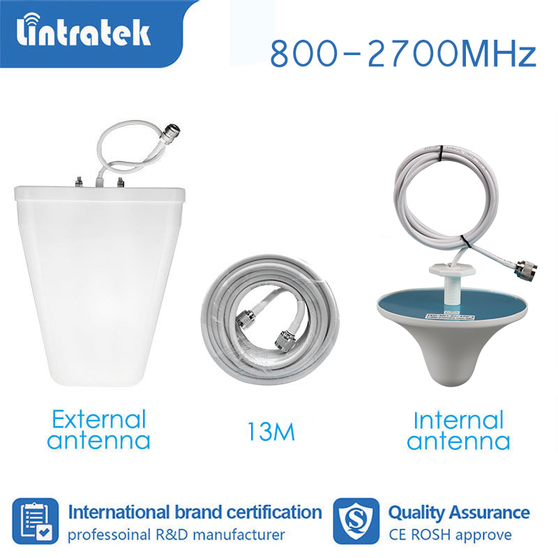 Lintratek Booster Accessories Full Set Repeater Antenna For Signal Amplifier GSM 2G 3G 4G 850 800-2700mhz 13 Meter Cable  S4